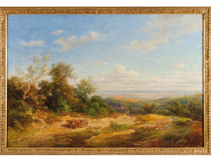 """Anton Burger (1824 - 1905), """"Kronberg von Falkenstein aus""""; Öl / Lwd.; 82 x 122 cm"""