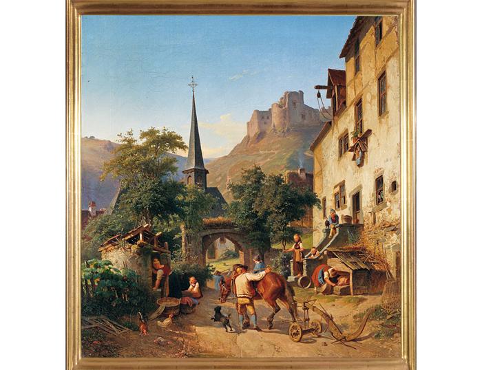 """Jakob Fürchtegott Dielmann (1809 - 1885), """"Bäuerliche Pastorale"""""""